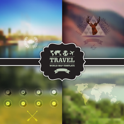 Blurred travel elements background vector free