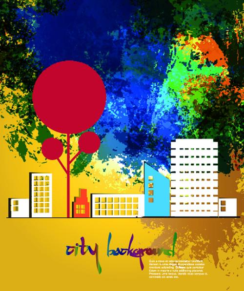 Cute cartoon city background vector  01 free