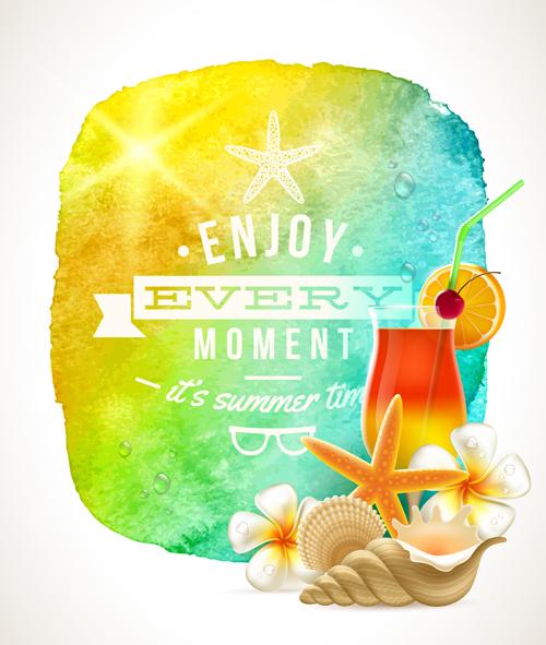 Enjoy summer time creative vector  05 free