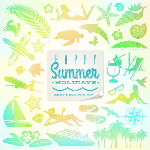 Travel elements with summer holiday background free