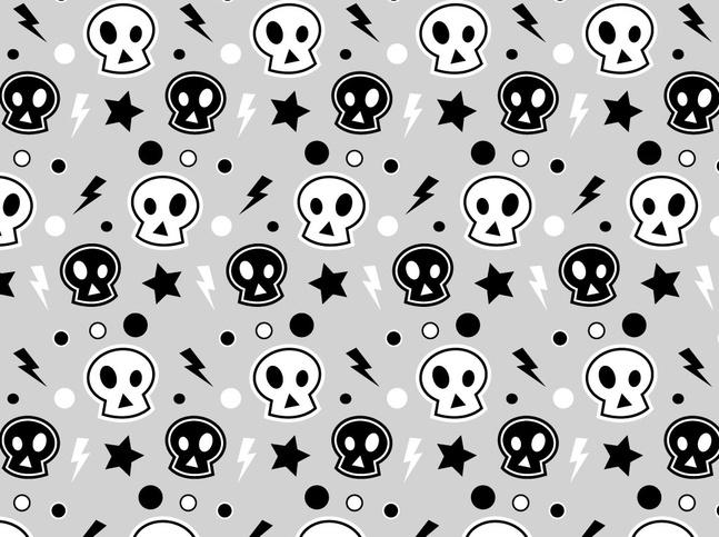Punk Skull Pattern vector free