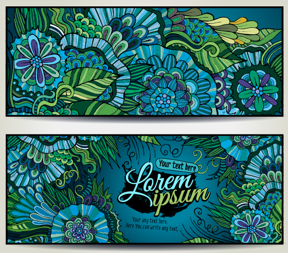 Sea style floral decorative background vector 05 free