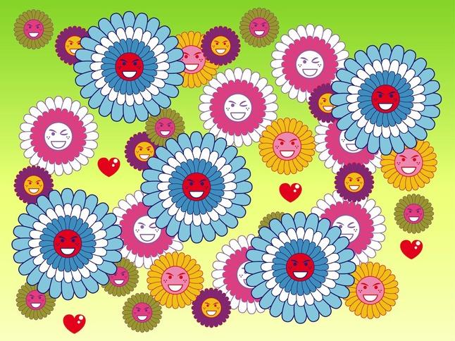 Flower Smileys vector free