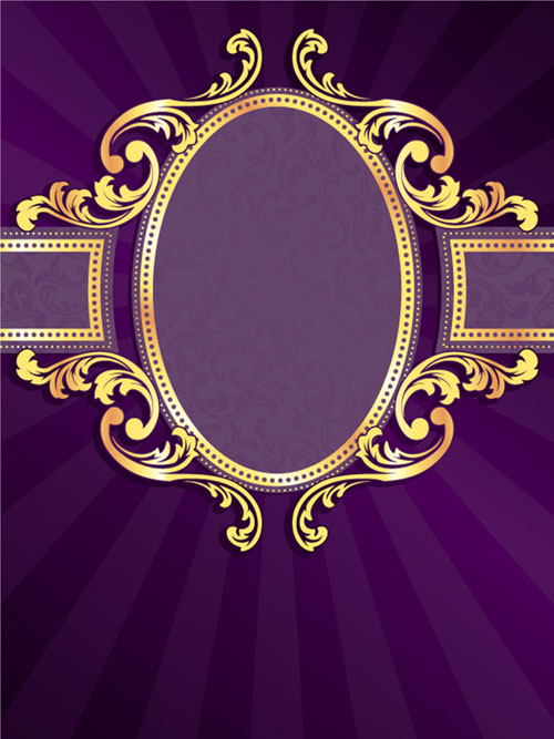 Golden frame with purple background vector 02 free
