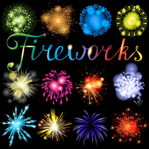 Realistic fireworks colored background vector graphics 04 free