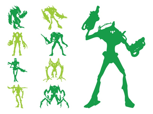Alien Silhouettes vector free