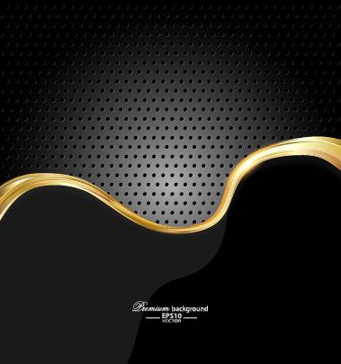 Dark style metal wave background vector set 03 free