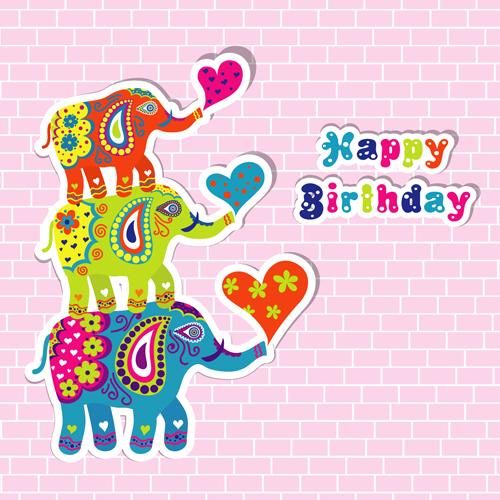 Floral elephants with happy birthday background vector 03 free