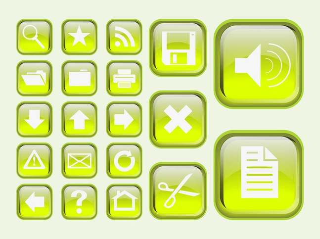 Green Interface Icons vector free