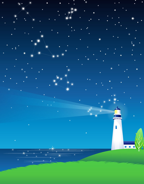 Night sky and searchlights vector background free