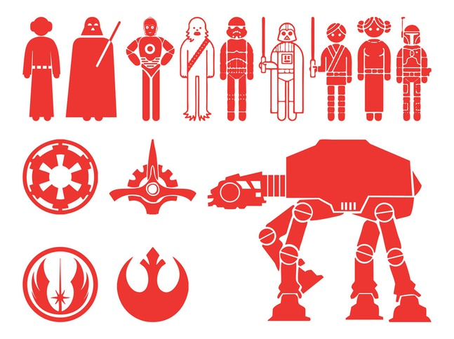 Star Wars Characters Silhouettes vector free