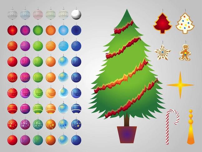 Christmas Tree Decorations vector free