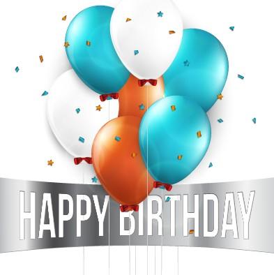Creative Happy Birthday background with balloon vector 03 free