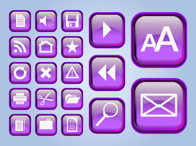 Glossy Interface Icons vector free