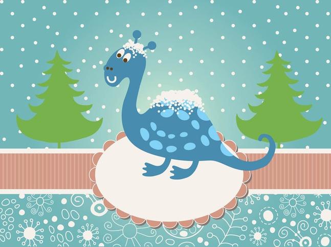 Christmas Dinosaur Vector free