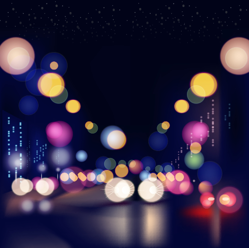 City night colored halation background vector graphics 05 free