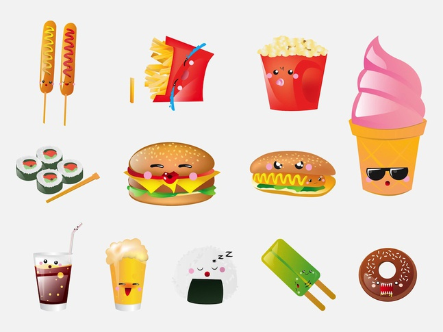 Food Cartoons vector free