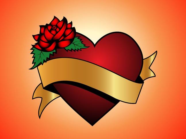 Love Heart Gold Banner vector free