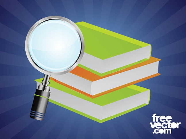 Books And Magnifying Glass vector free