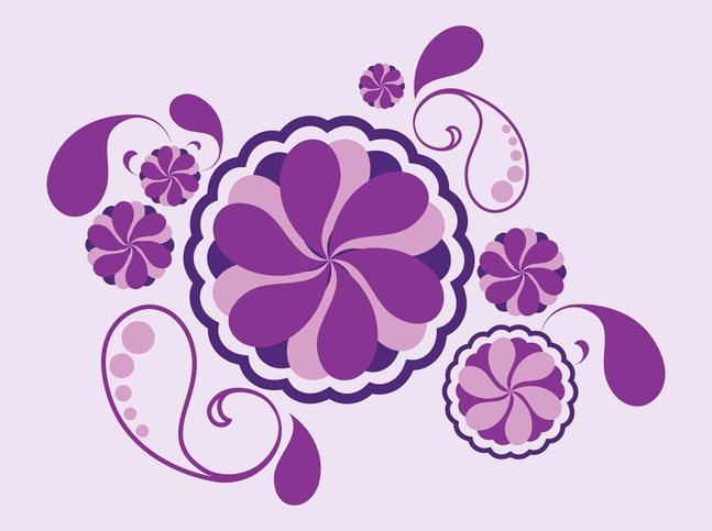 Flowers And Drops vector free