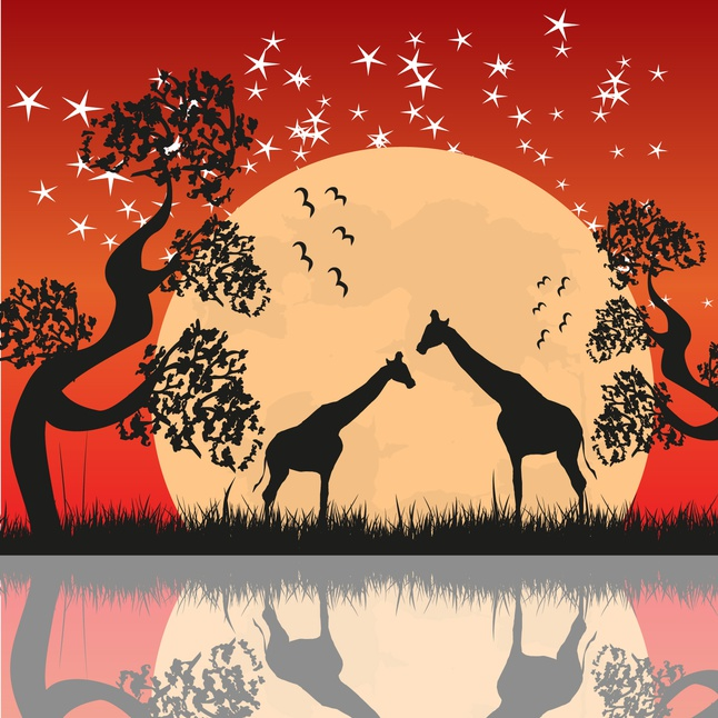 Giraffe Landscape Vector free