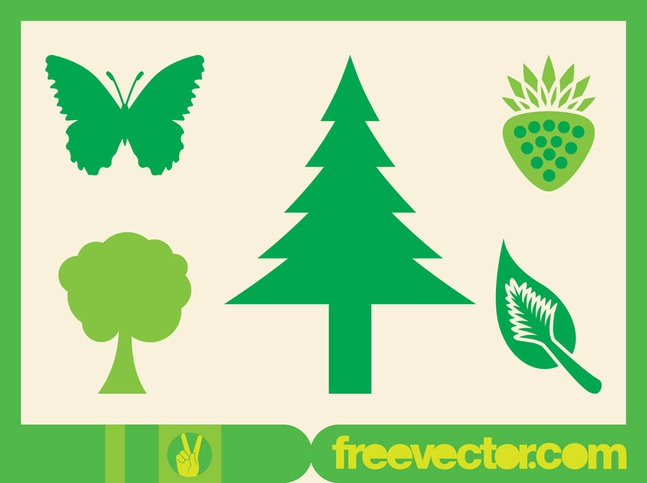 Green Nature Icons vector free