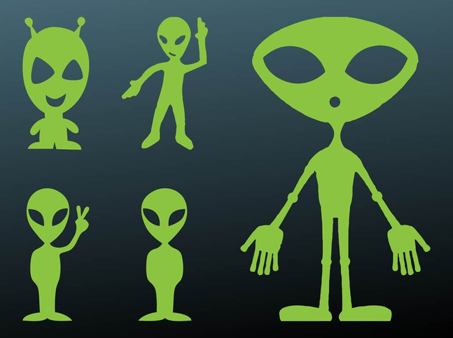 Happy Aliens Silhouettes vector free