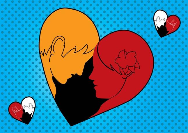 Loving Man Woman Heart vector free