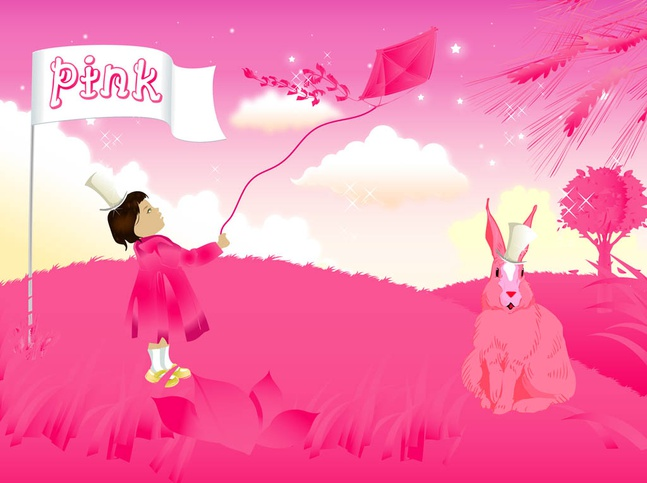 Pink Girl And Rabbit vector free