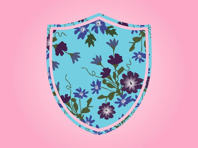 Shield With Flowers vector free