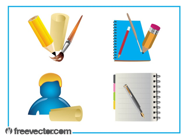 Stationery Graphics Set vector free