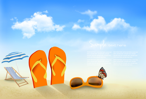 Summer beach vacation background art vector 04 free