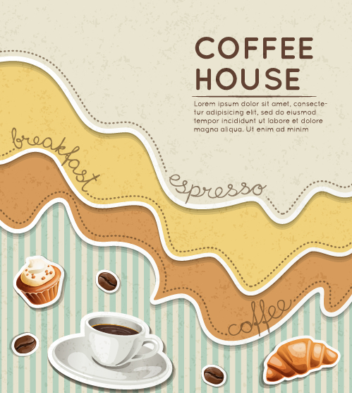 Wave coffee house background vector 05 free