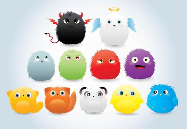 Cute Furry Cartoons vector free