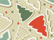 Christmas Tree Stars Pattern vector free