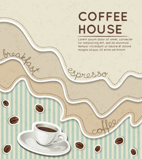 Wave coffee house background vector  03 free