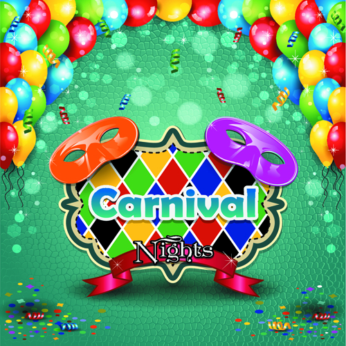 Carnival night background with mask vector 03 free
