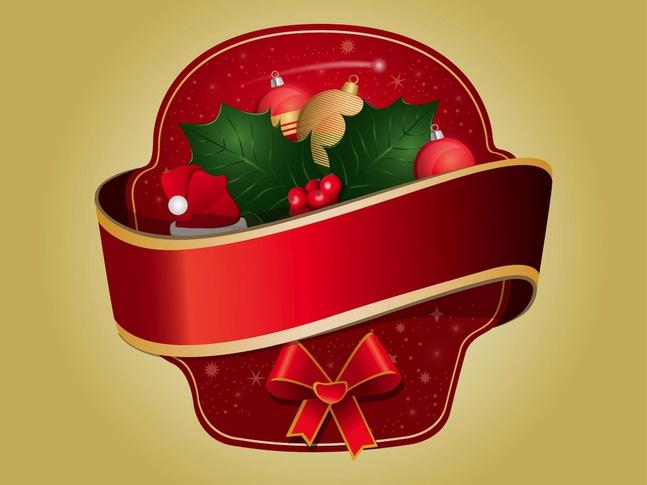 Christmas Sticker vector free