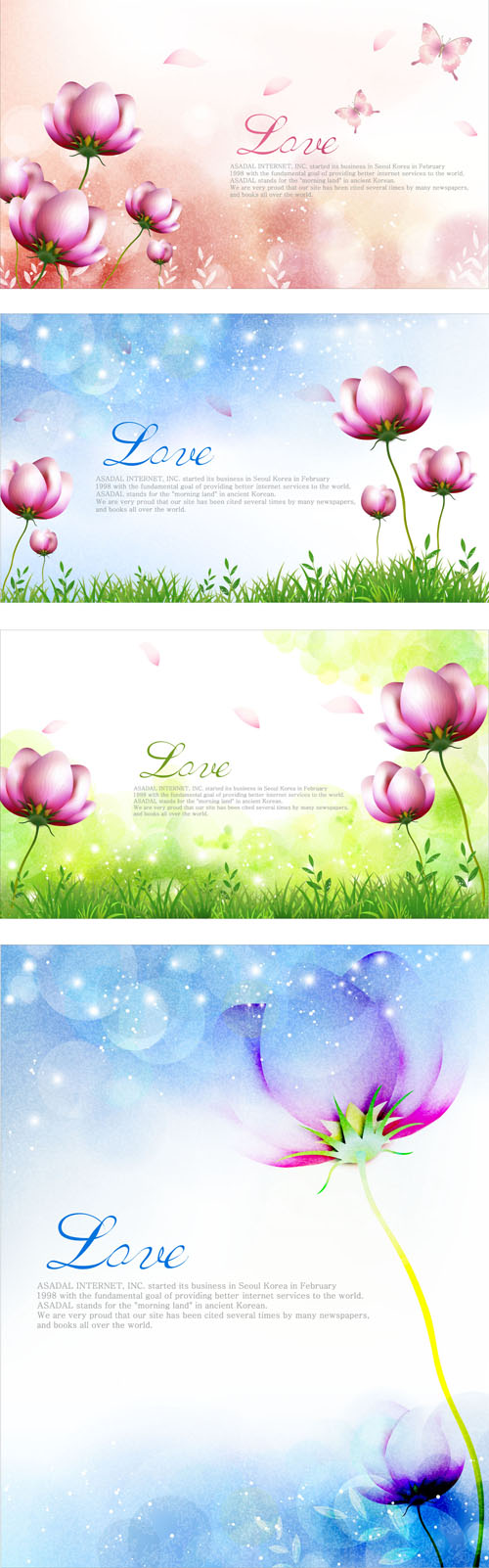 Elegant dream flowers background vector 03 free