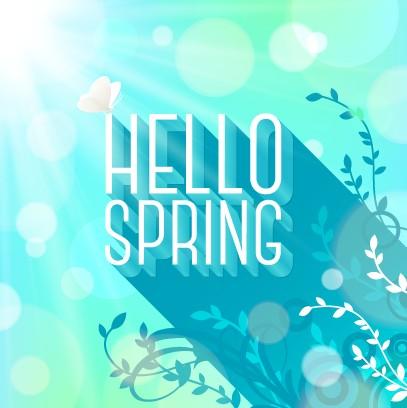 Shiny spring elements vector background set 03 free