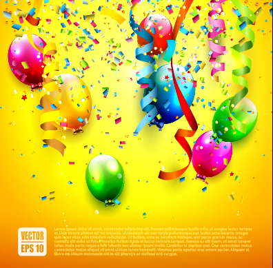 Birthday colored balloons with colorful ribbon background vector 04 free