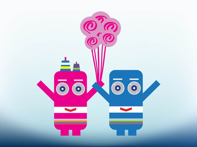 Robots In Love vector free