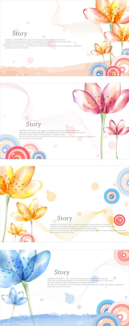 Elegant dream flowers background vector 02 free