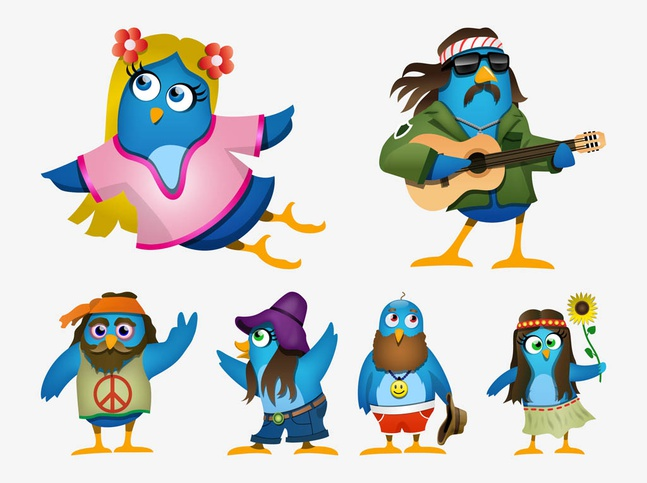 Hippie Cartoon Birds vector free
