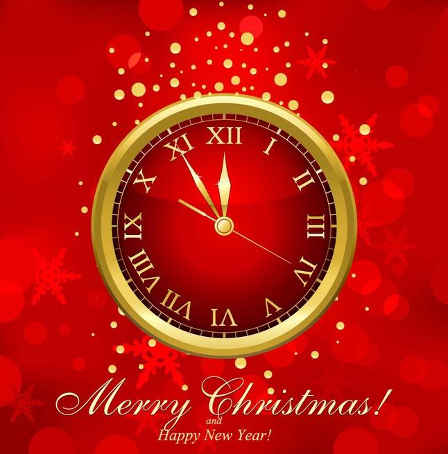 Holiday Clock vector free