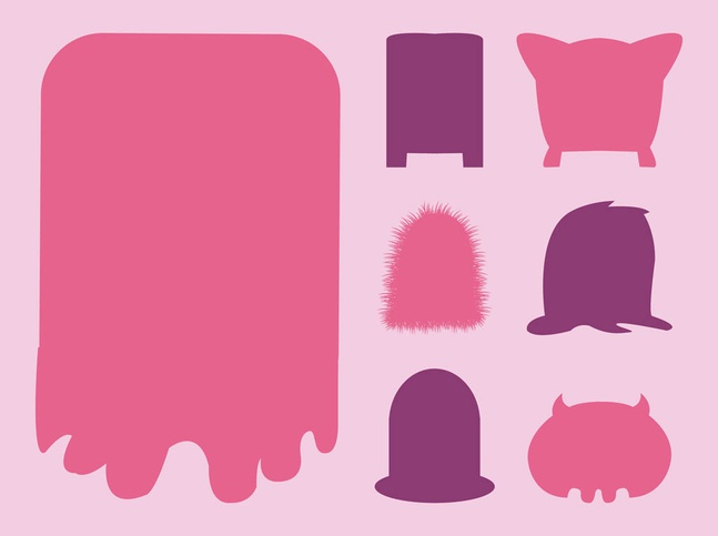 Monsters Silhouettes vector free