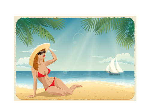 Beautiful girl travel background vector 02 free