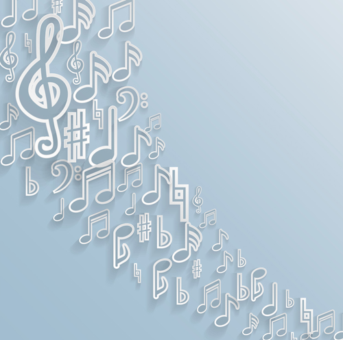 Elegant music note background vector set 01 free