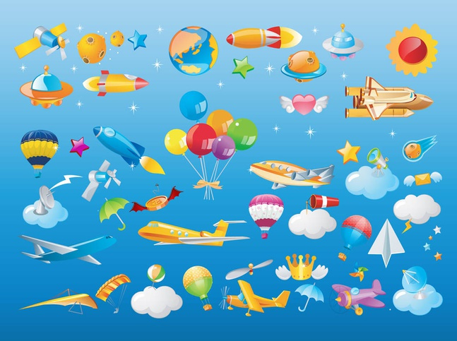 Flying Objects Vector free