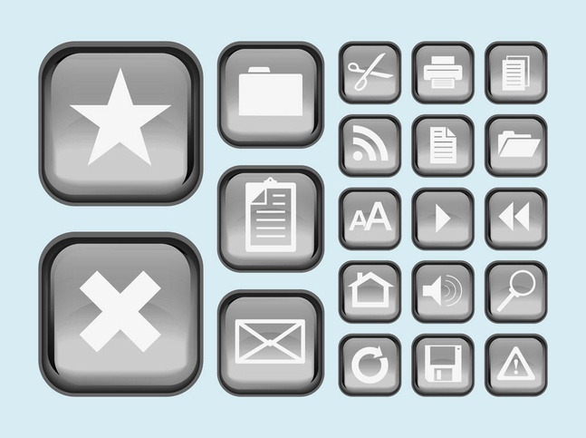 Interface Buttons Icons vector free